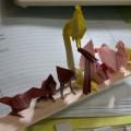 『折り紙生物スケッチ』からおながどり、だちょう、しゃも×2。(用紙75x75)