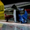 『折り紙生物スケッチ』から七面鳥、ペンギン、わし。小さい紙では折りにくいけどワシはお気に入りの一つ。(用紙75x75)