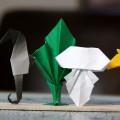 『折り紙生物スケッチ』からクラゲ、海草、タツノオトシゴ。 (用紙 75x75)