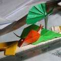 『折り紙生物スケッチ』からいちょう、木の葉、いもの葉、かたつむり。 (用紙 75x75)