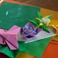 『折り紙生物スケッチ』からささ、すいれんの花と葉、ちょう、くも。 (用紙 75x75)
