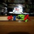 『折り紙生物スケッチ』からかえで、もみじ、せみ、とんぼ、うまおい。 ちょっと荒くなった。 (用紙 75x75)