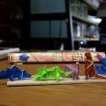 『折り紙生物スケッチ』から。ティラノザウルス、ブロントザウルス、トリケラトプス、ステゴザウルス。