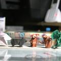 WEB( http://bit.ly/19EjHGg )から エリマキトカゲ。 『折り紙入門』から さるの親子、クマ、うさぎ。