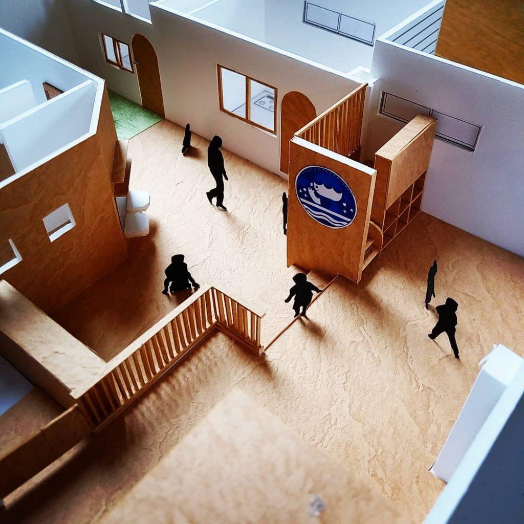 保育園と住宅の模型